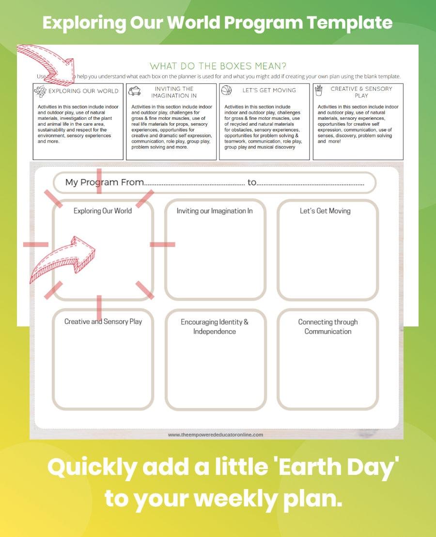 educator earth day program template