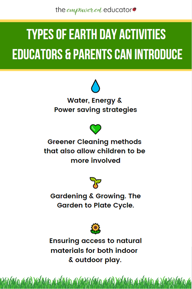 Be inspired to take action and promote early learning with this huge collection of easy earth day activities from The Empowered Educator that early childhood educators and homeschool parents can use every week with children!