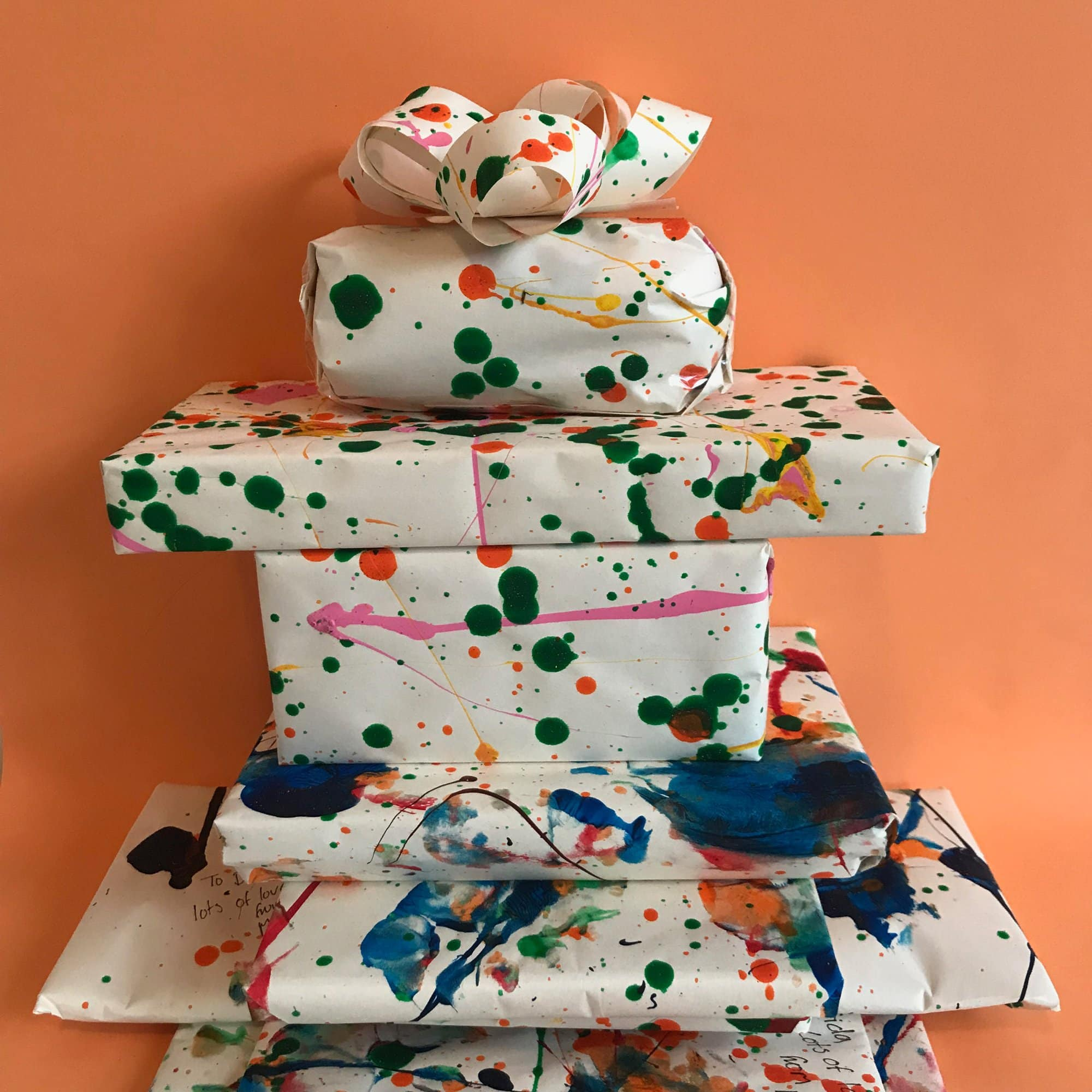 Use these quick, easy & playful ideas to make your own wrapping paper. Children will love sharing their creativity with family members!