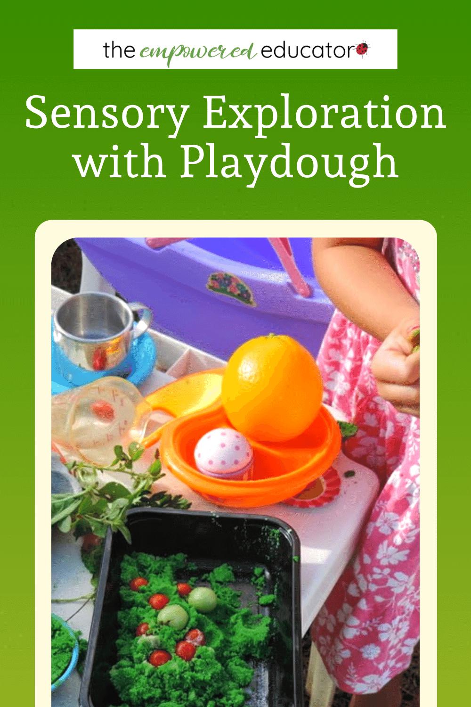 sensory exploration with playdough pin