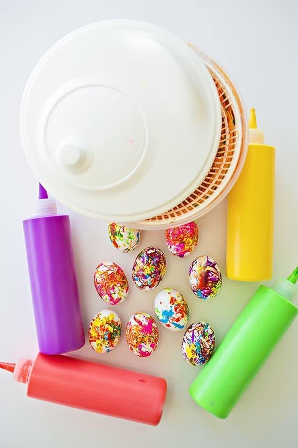 playful Easter activities for children -spin art easter eggs