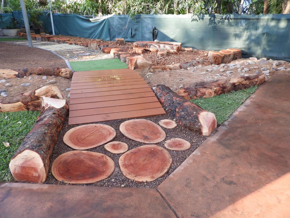 sensory play path outdoors fixed structure