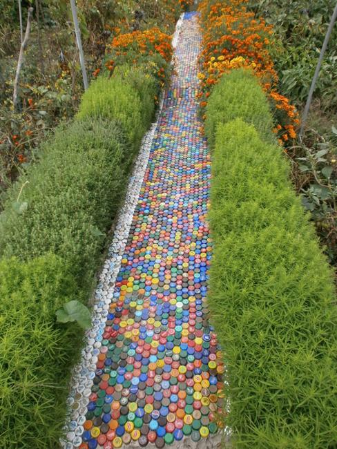 garden sensory path made from recycled plastic lids.