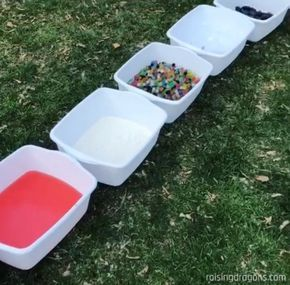 sensory walk using containers