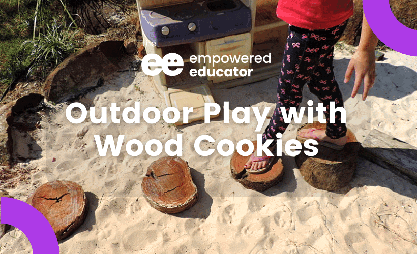 outdoor play with wood cookies