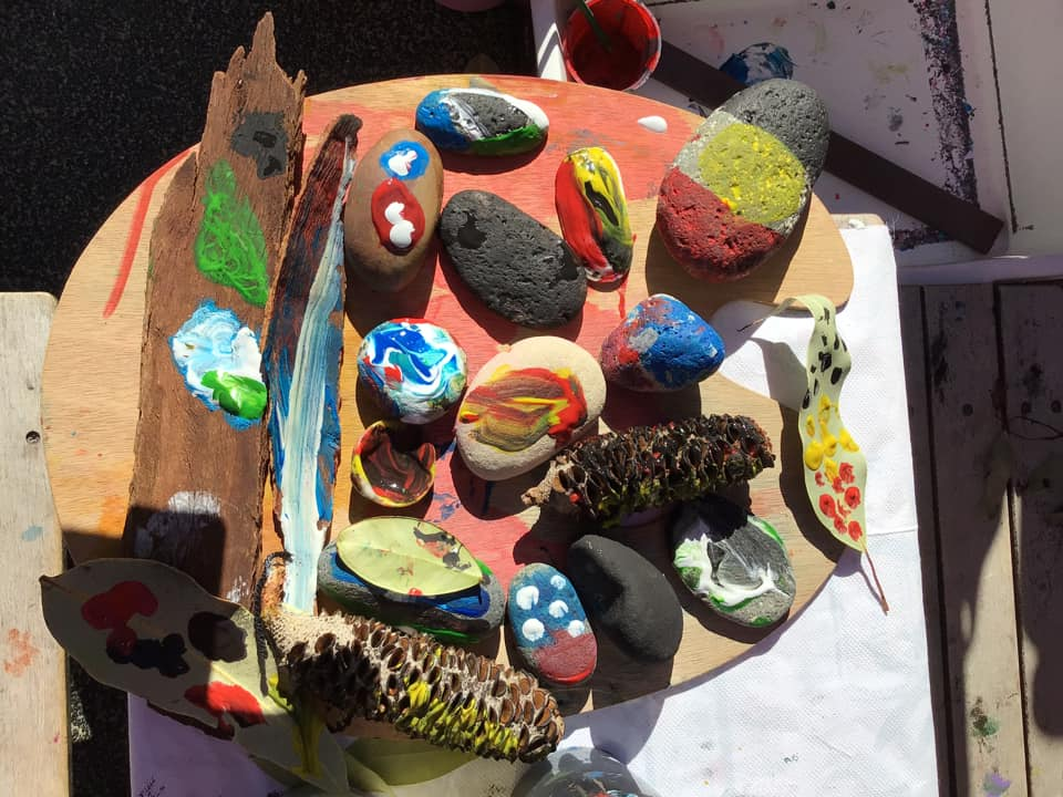 rock and leaf painting early learning activity ideas with nature