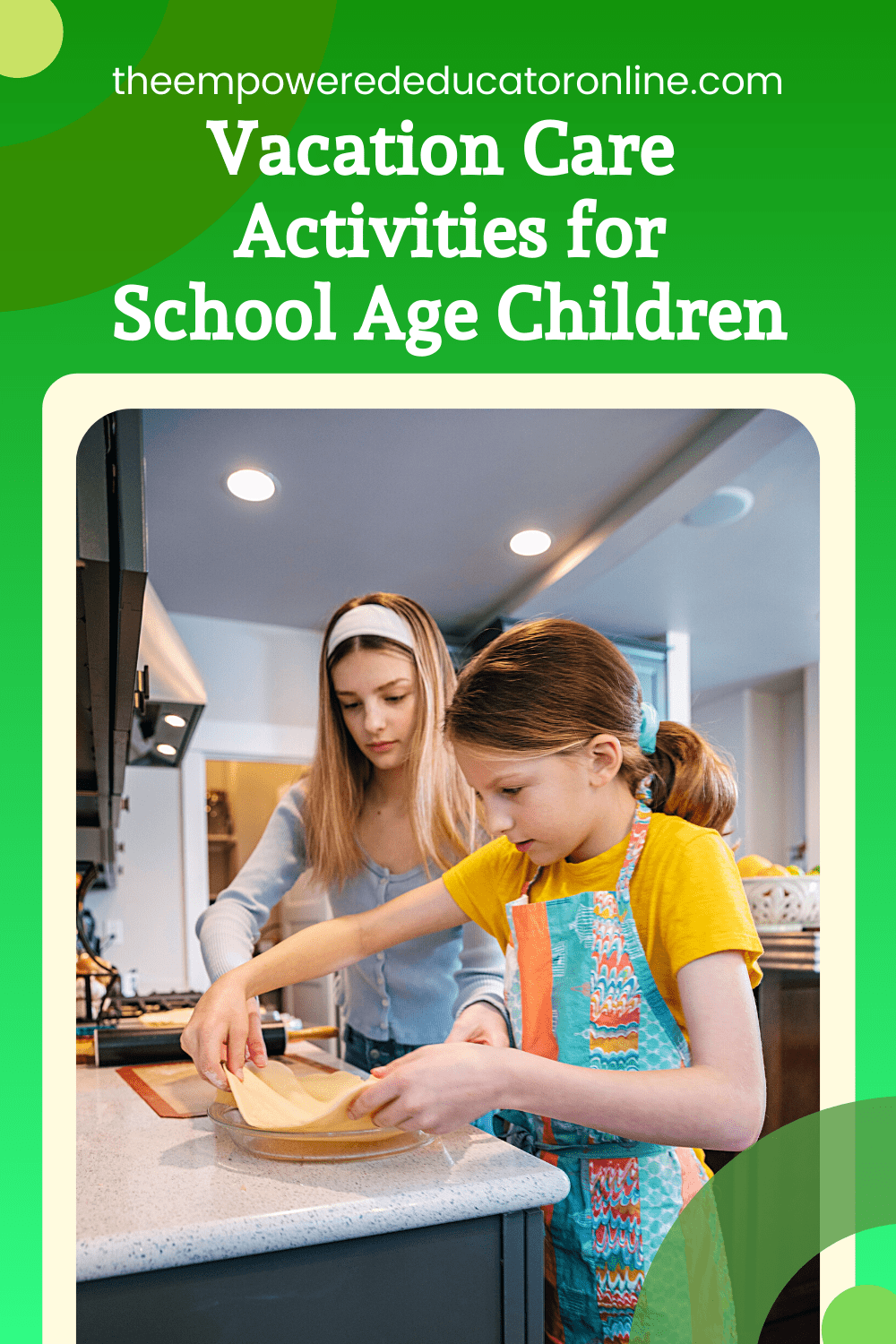 vacation care activities for school age children