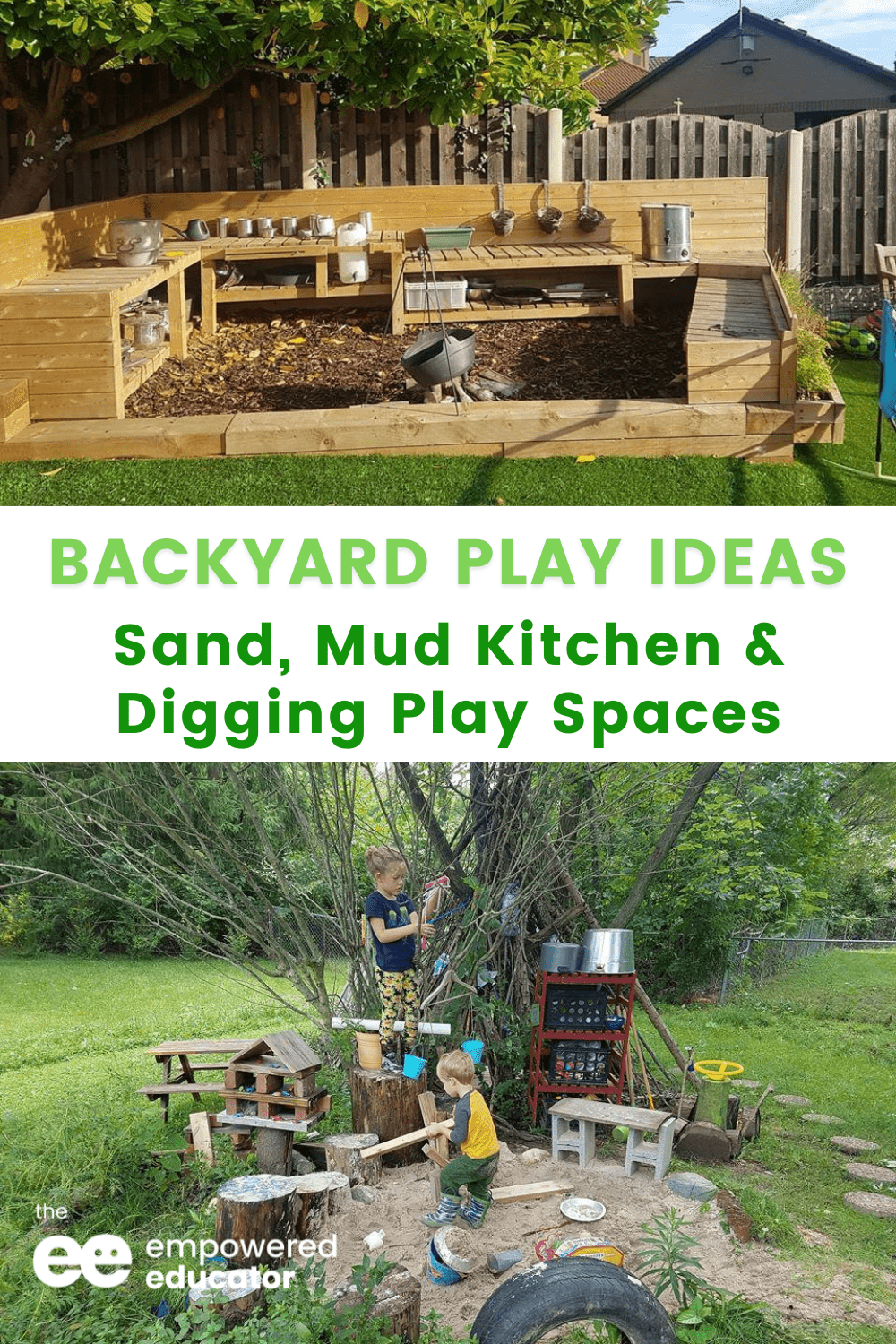 Ideas You Can Use for Simple Sand, Mud Kitchen and Digging Play Spaces