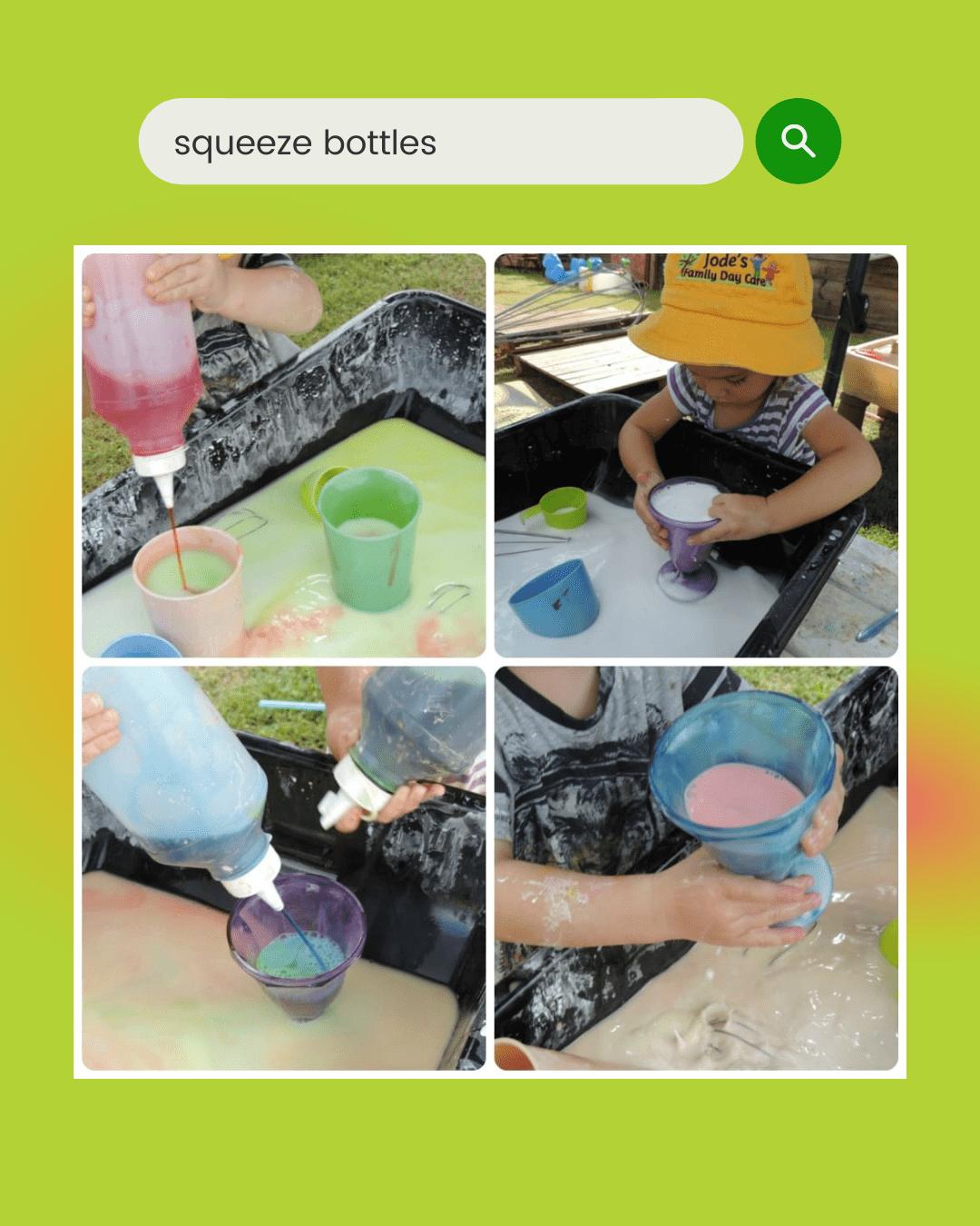 squeeze bottle activities using sensory tools