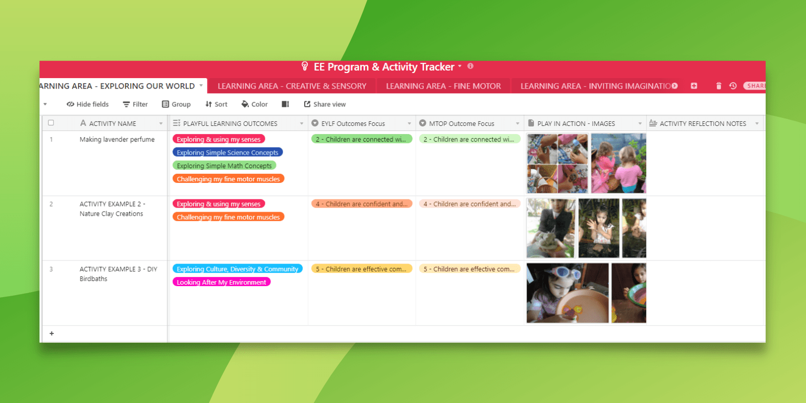Plan out your programs and connect to favourite activity ideas visually